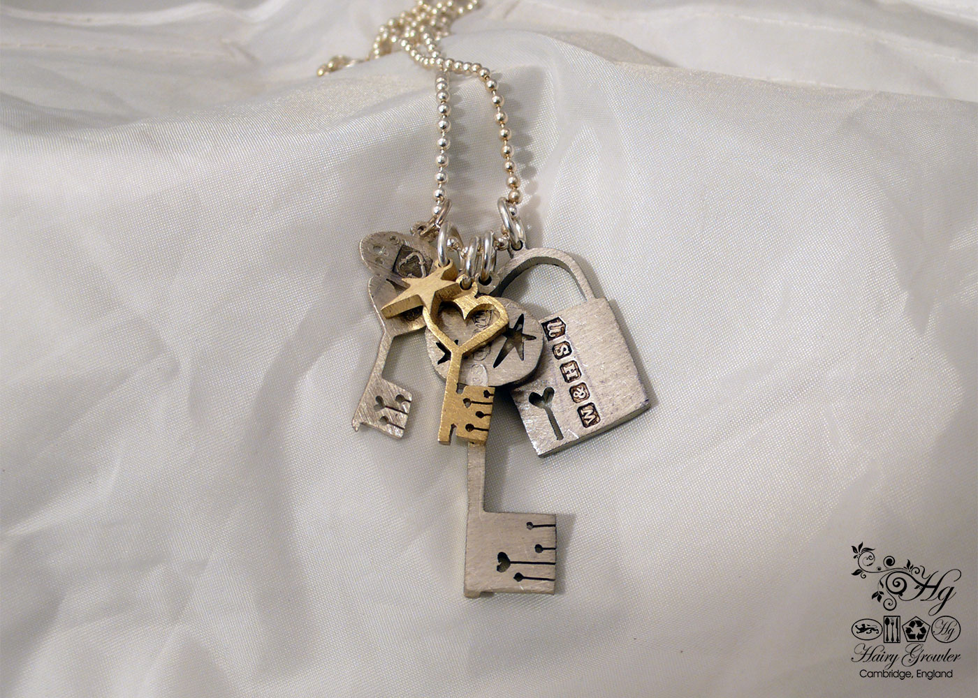 handcrafted and recycled spoon love lock and key necklace