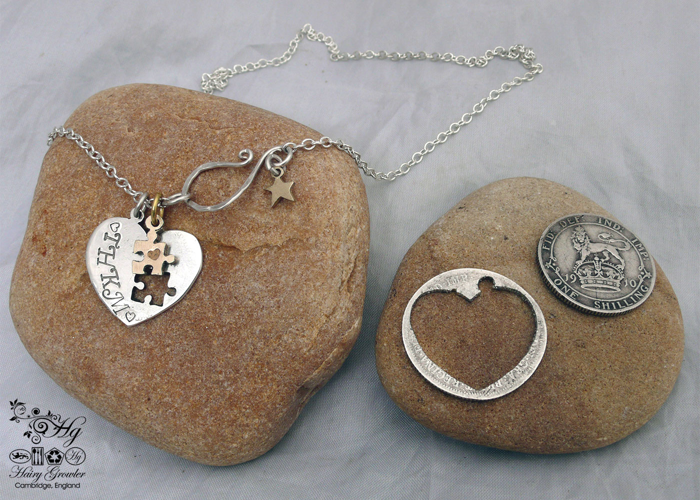 handcrafted and upcycled silver coin love heart jigsaw necklace pendant