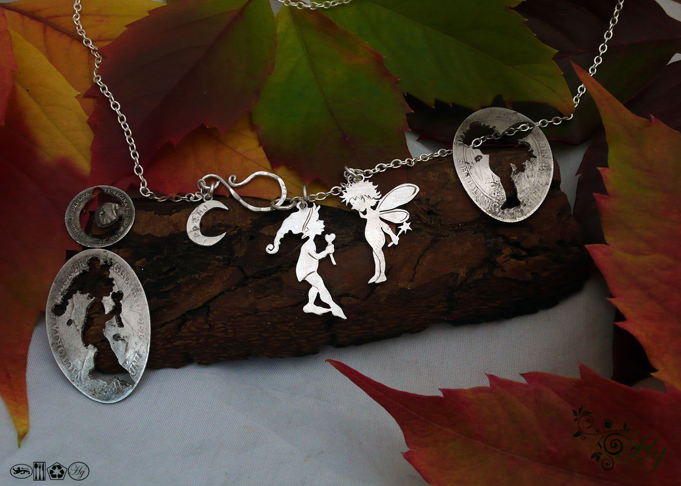 Pixies and faeries pendants - handmade and recycled using silver shillings