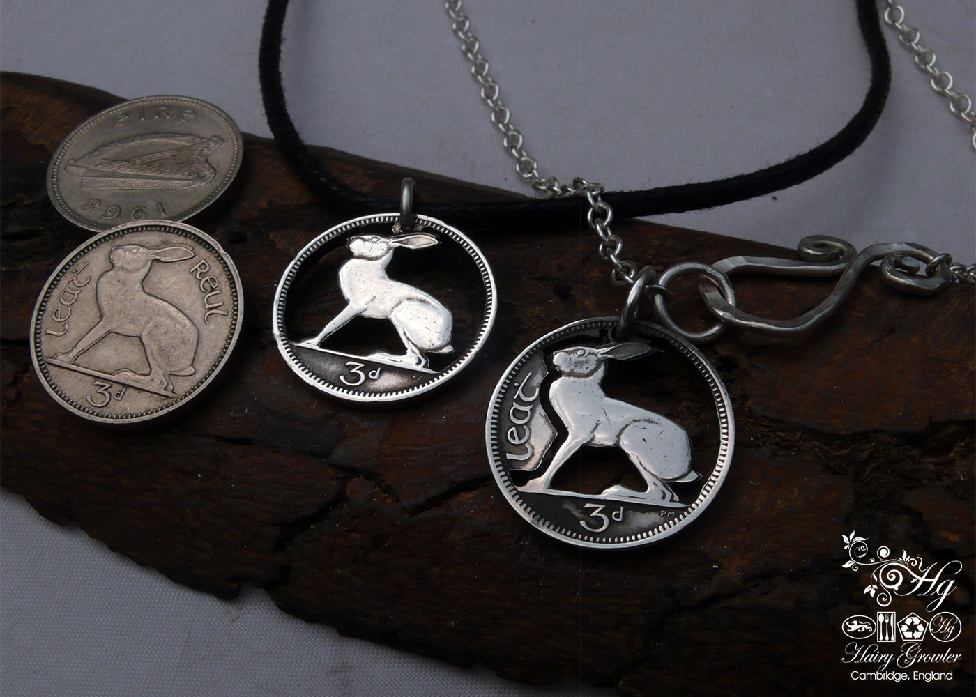Hand crafted and carved Irish hare threepence coin pendant. Handmade and recycled jewellery
