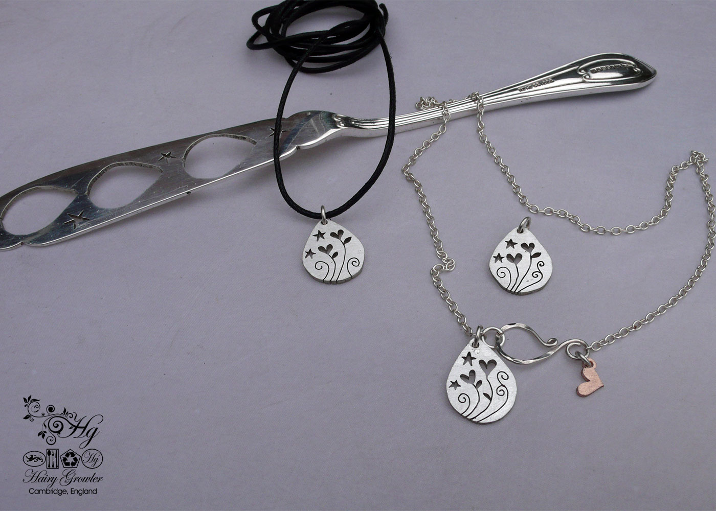 Recycled cutlery Handcrafted and recycled fish knife love grows necklaces