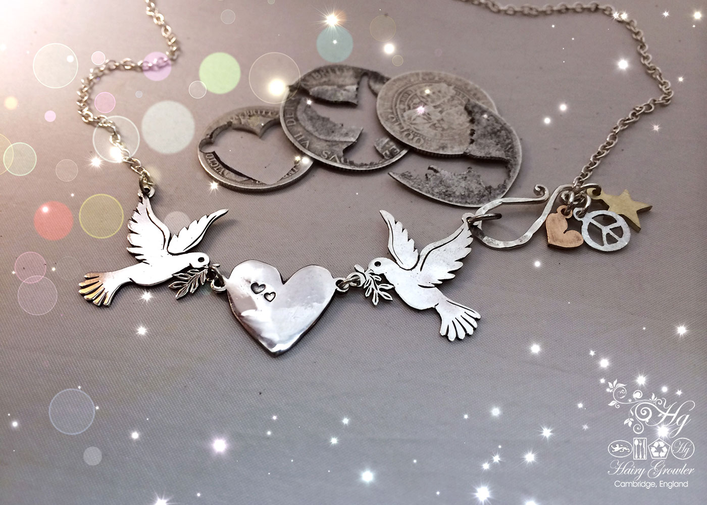 Handcrafted and recycled sterling silver coins 'love doves' necklace