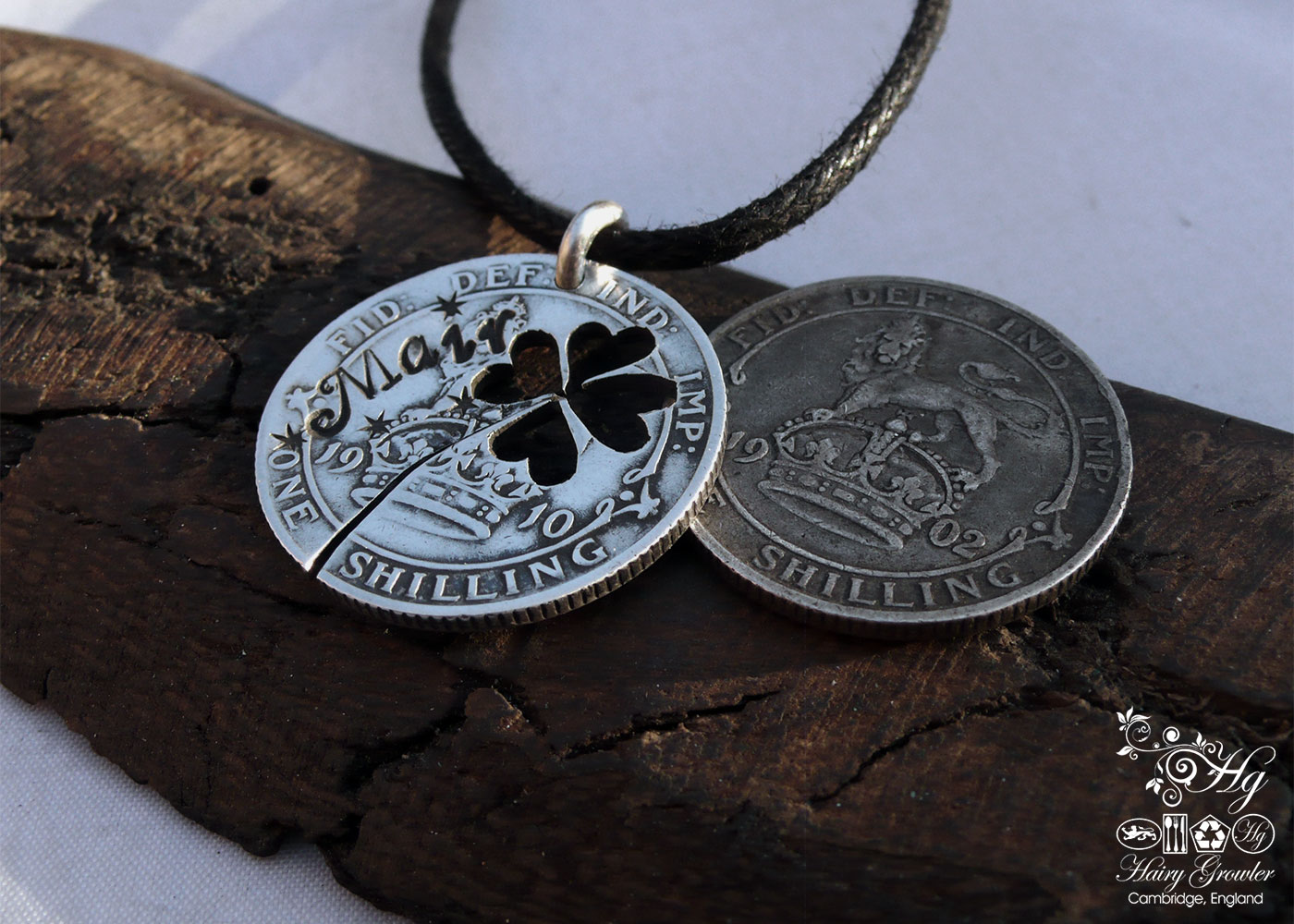 Handcrafted and recycled lucky silver shilling coin necklace pendant