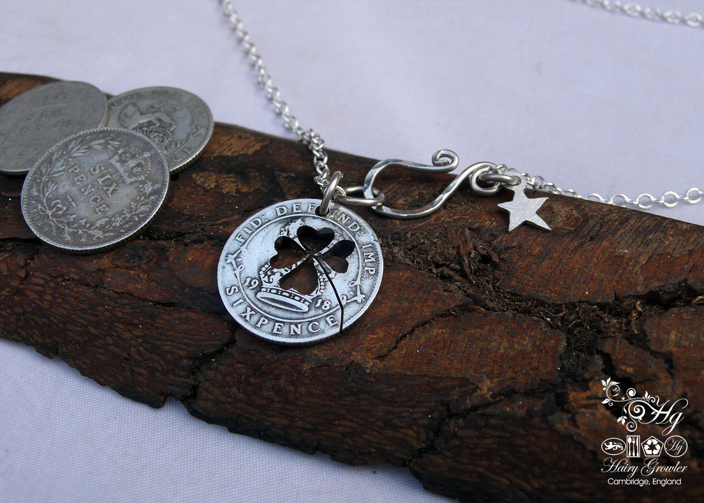 Handcrafted and recycled lucky silver sixpence coin necklace pendant