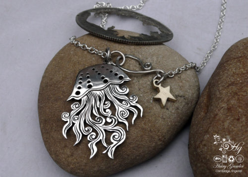 Handcrafted and recycled silver two shilling medusa jellyfish necklace