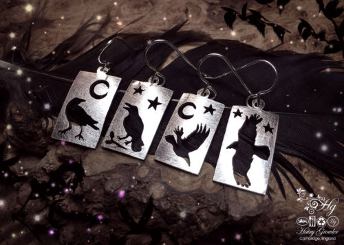 handmade and repurposed spoon nevermore raven earrings