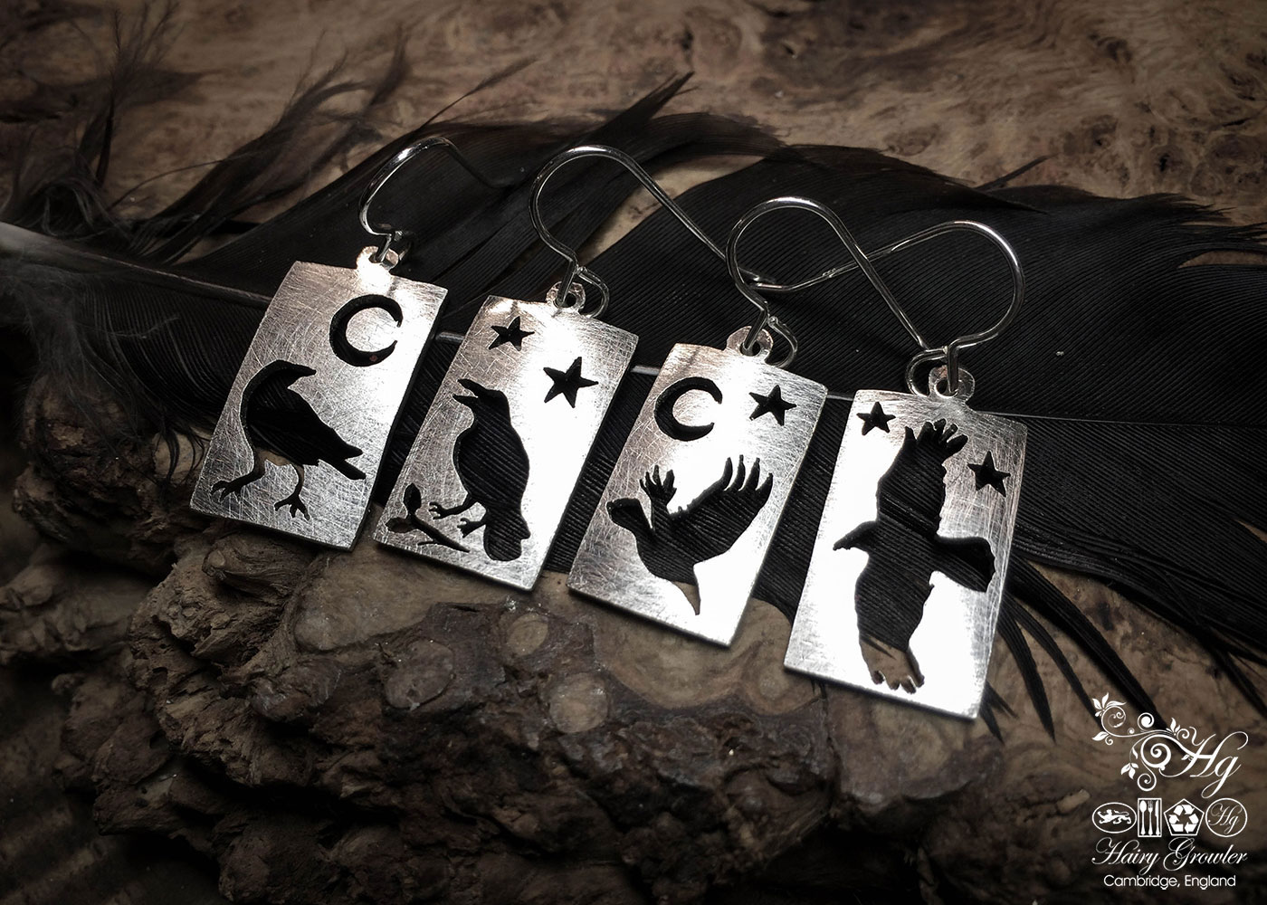 handmade and recycled spoon nevermore raven earrings