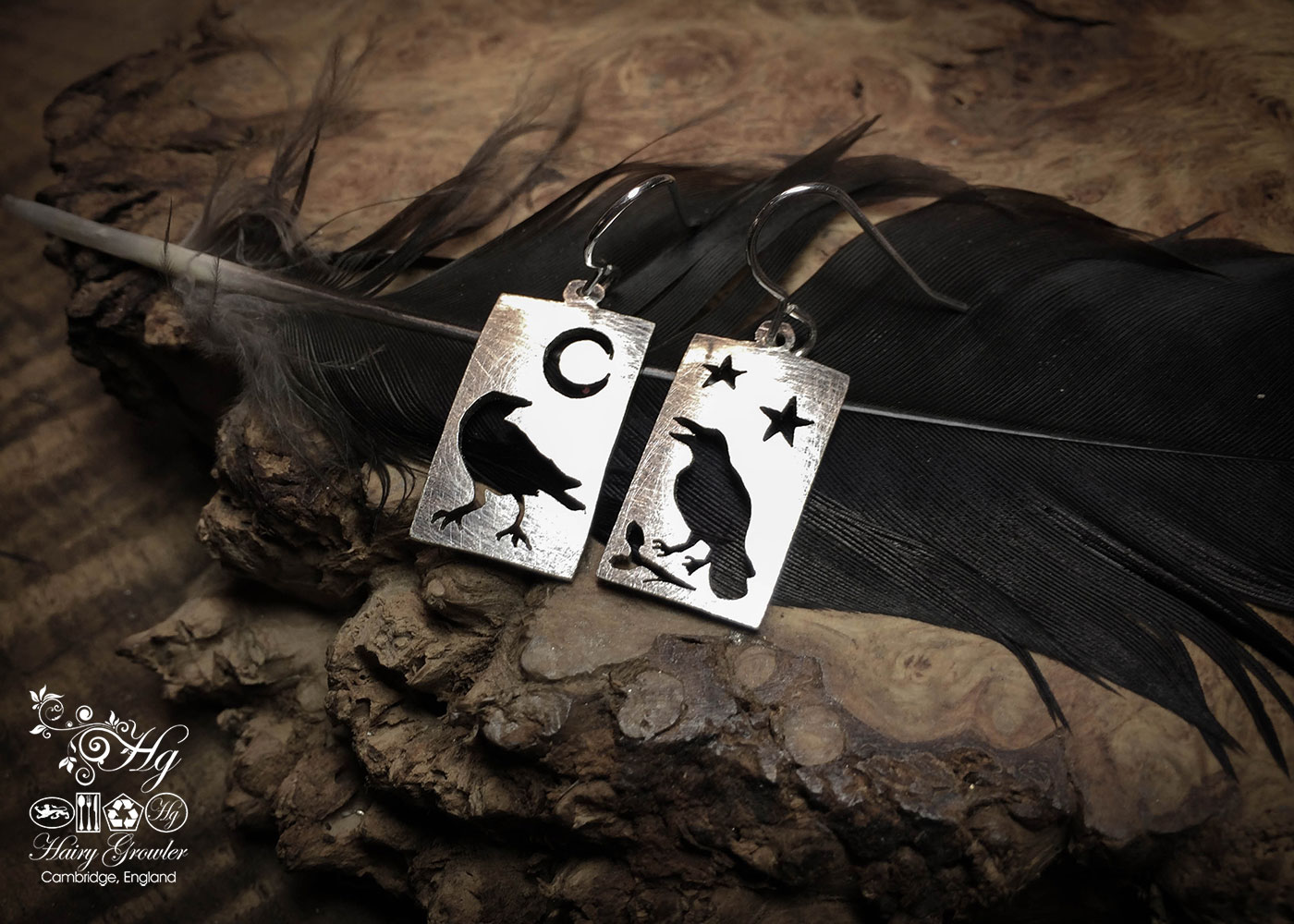 handcrafted and repurposed spoon nevermore raven earrings