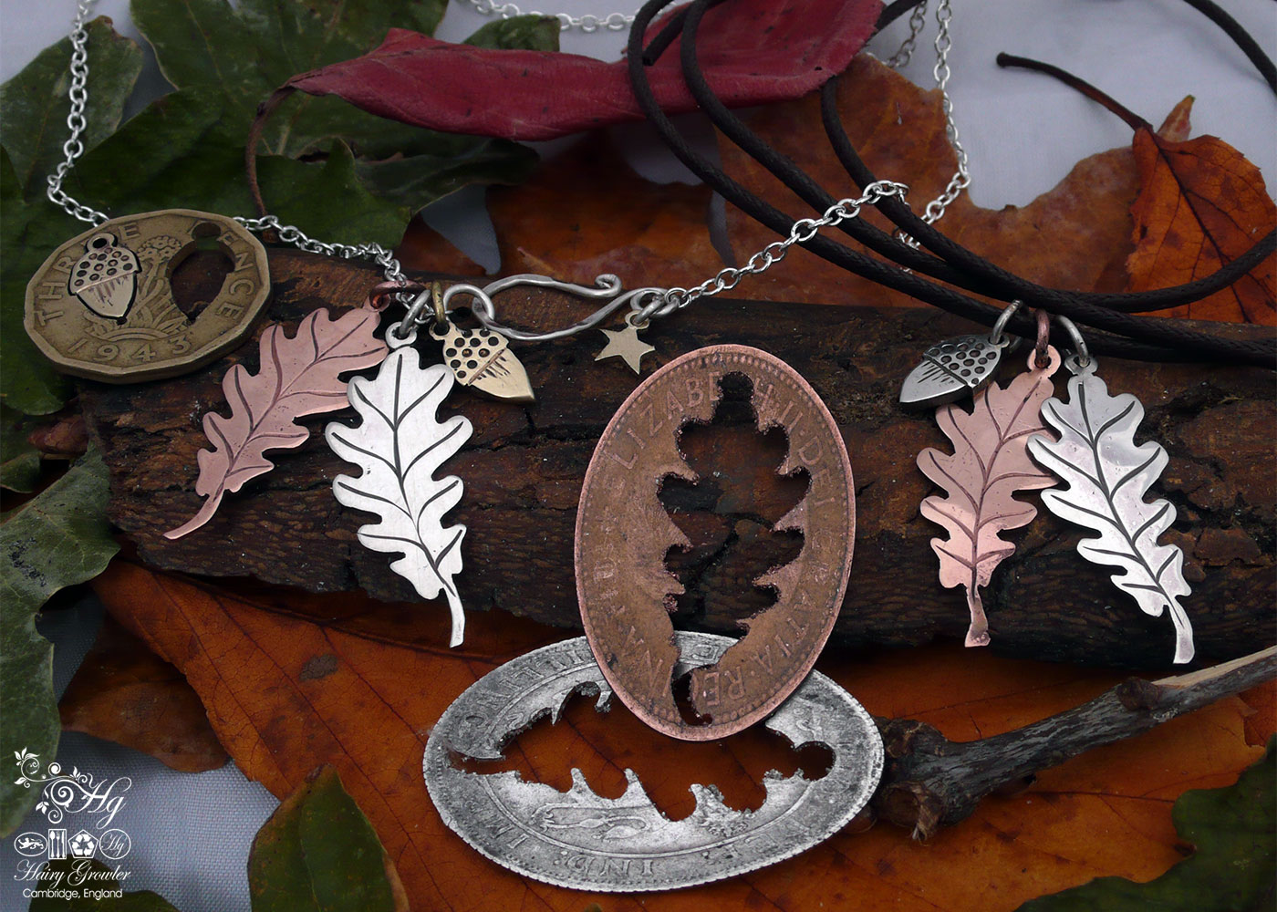 Handmade and upcycled oak leaves and acorn necklace reverse of coin