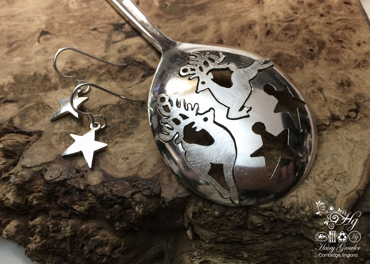 handcrafted and recycled spoon party time reindeer earrings