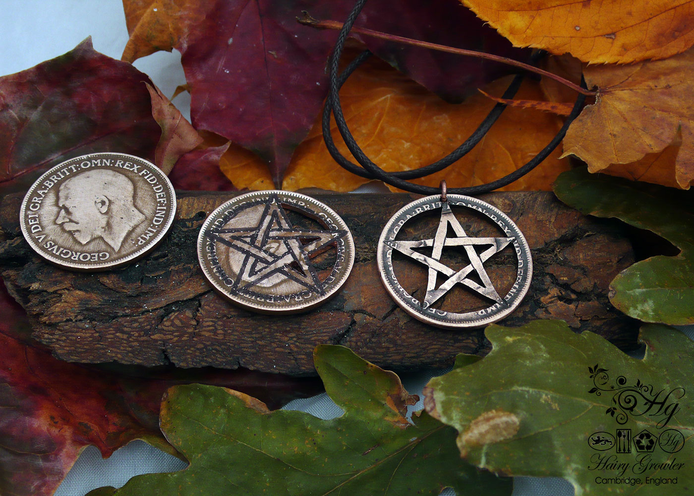 Hand cut pentacle coin pendant made as a personal talisman