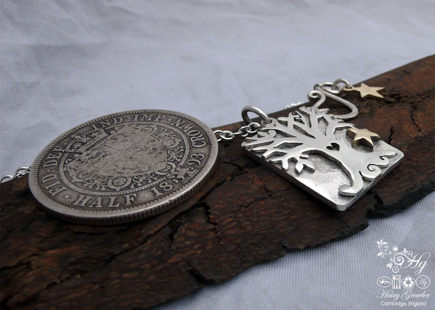 Handcrafted and recycled Victorian silver coins autumn tree necklace made in Cambridge