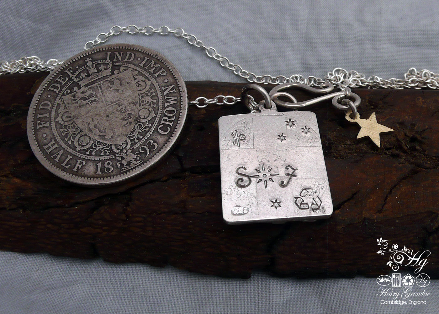 Hand made and repurposed Victorian silver coins autumn tree necklace made in Cambridge