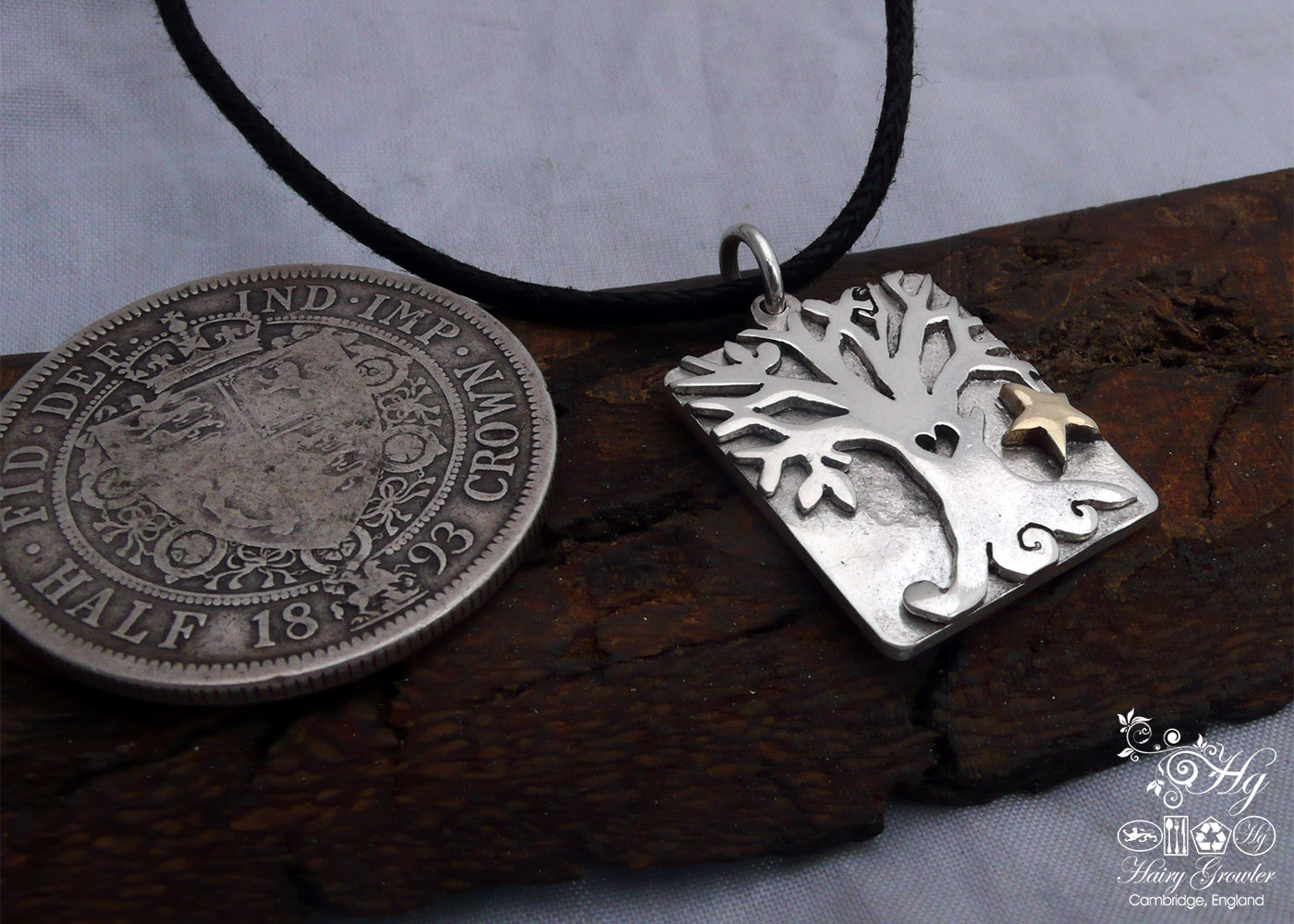 Handmade and recycled Victorian silver coins autumn tree necklace made in Cambridge