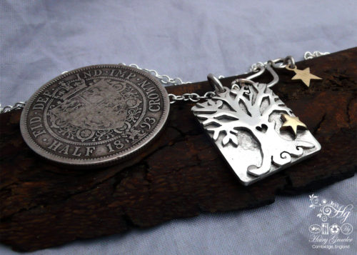 Hand carved and recycled Victorian silver coins autumn tree necklace made in Cambridge