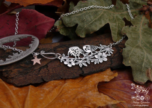 cute Owl necklace - Recycled silver Half Crown coin
