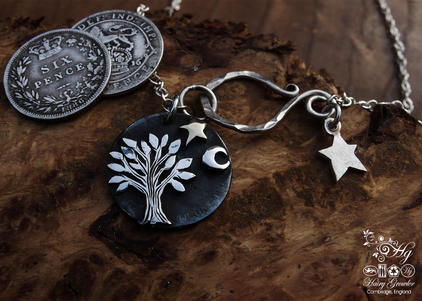 sterling silver sixpence coin transformed into a sweet little tree necklace