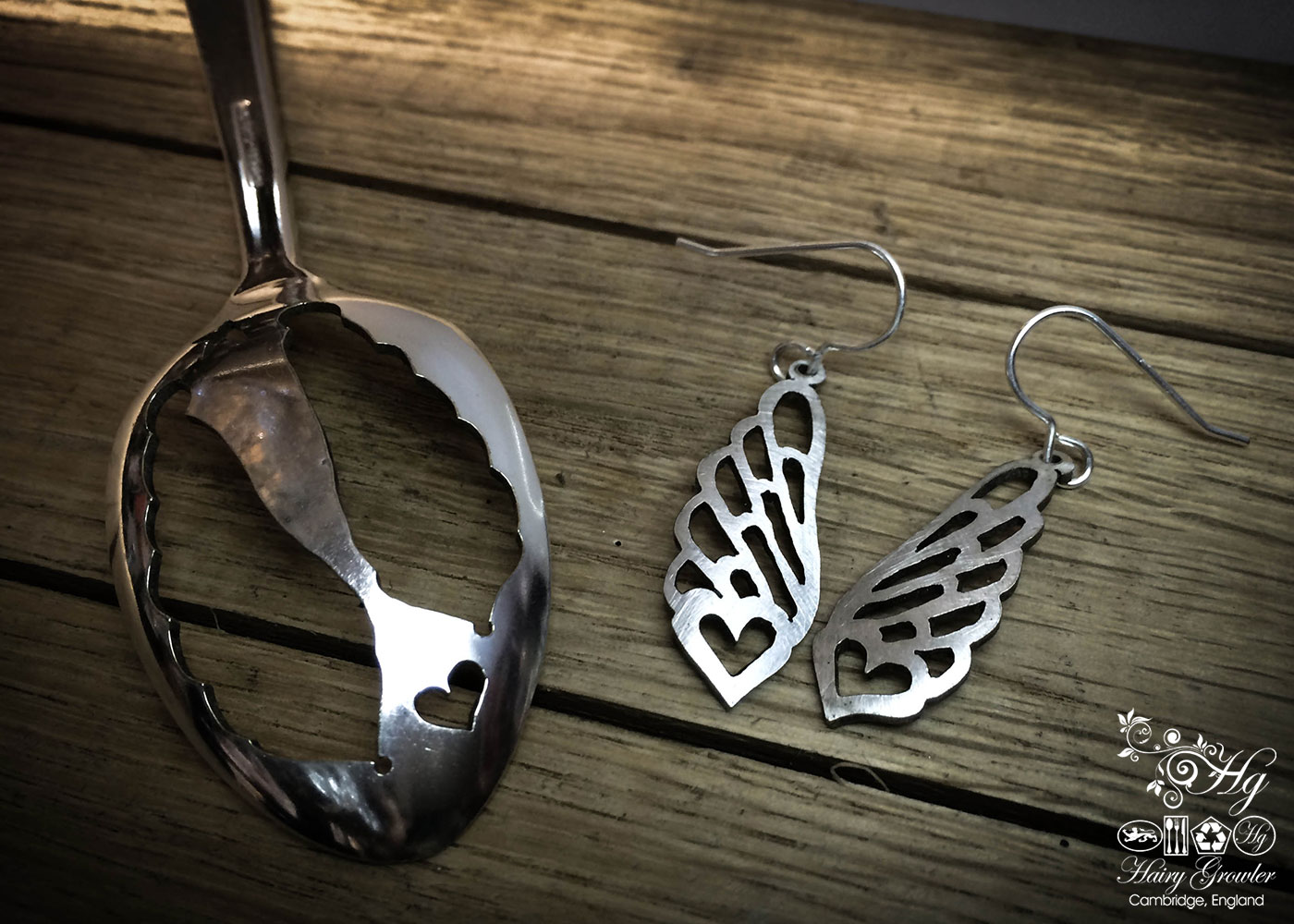 angel wings handcrafted and recycled spoon bird earrings