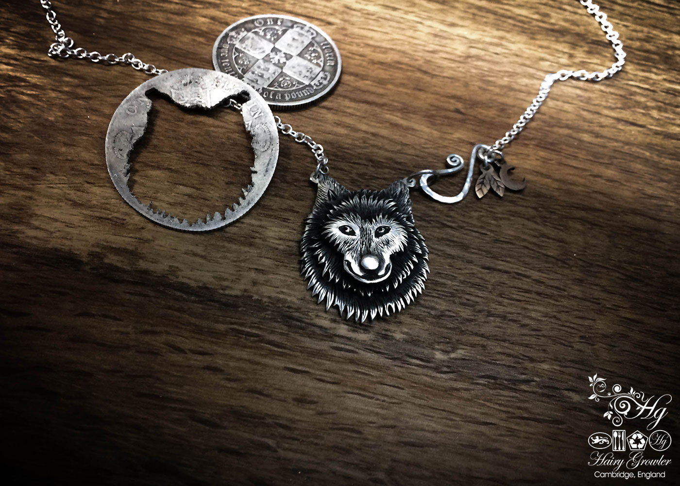 Handcrafted and recycled sterling silver lone wolf necklace