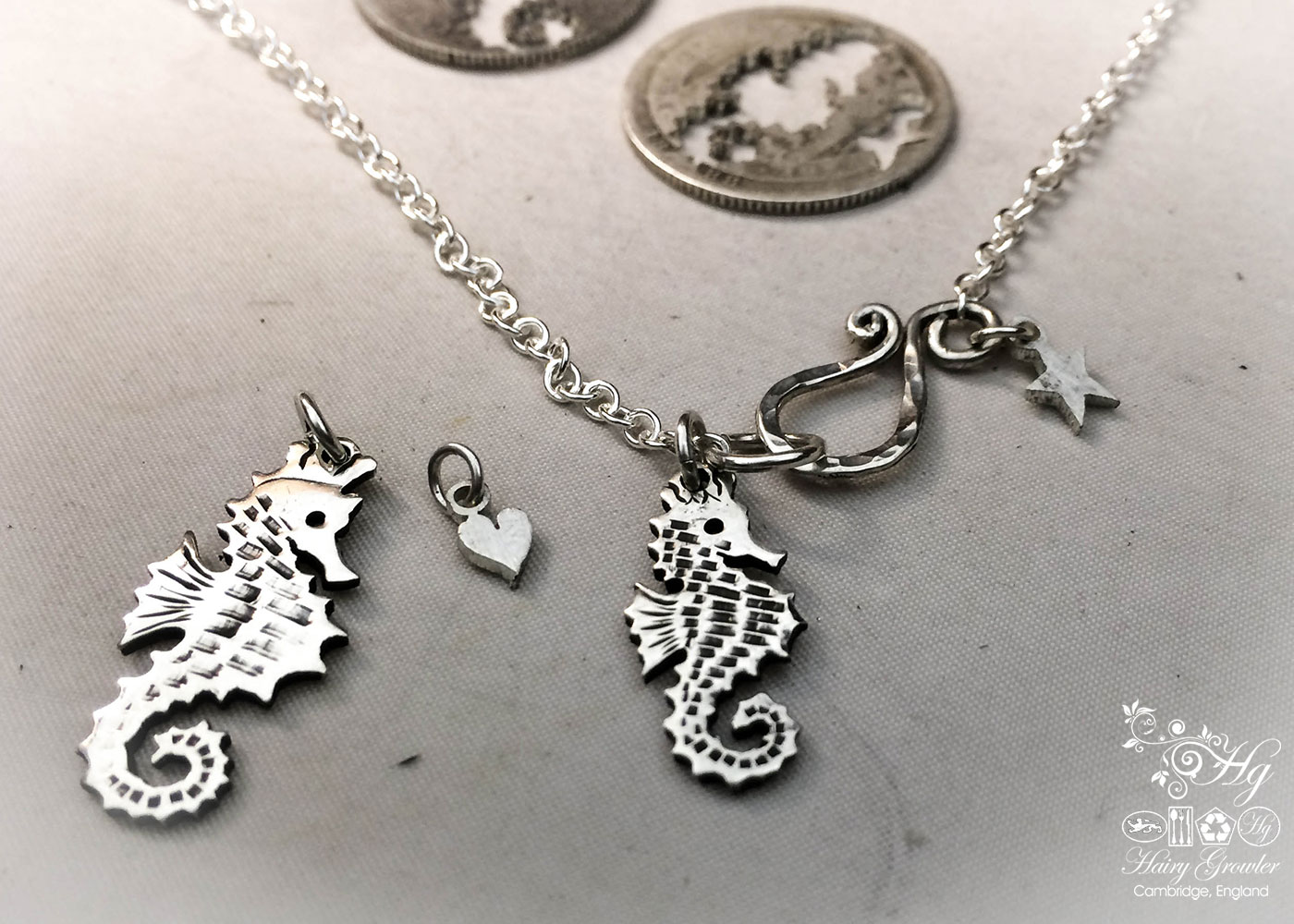 Handmade and upcycled silver shilling seahorse necklace
