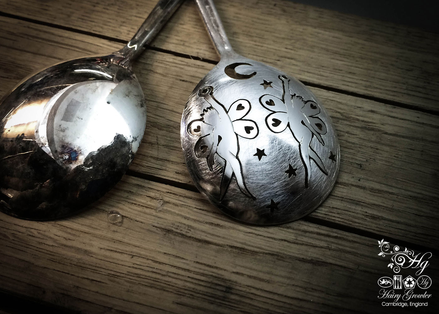 handcrafted and upcycled spoon fairies-and-stars earrings