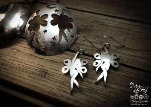 handmade and repurposed spoon fairies-and-stars earrings