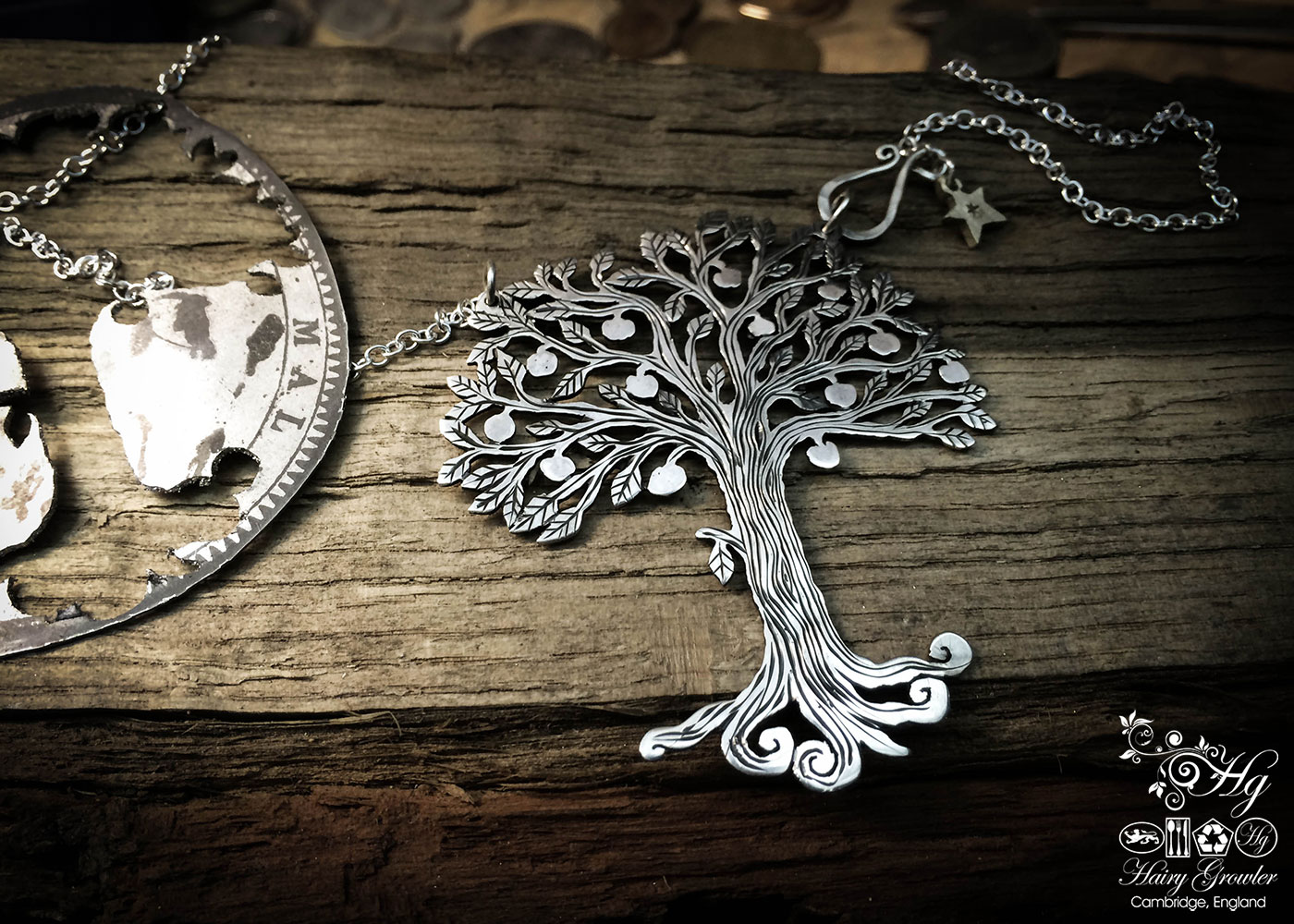Handmade and upcycled silver Tree of Life necklace made from a silver crown coin