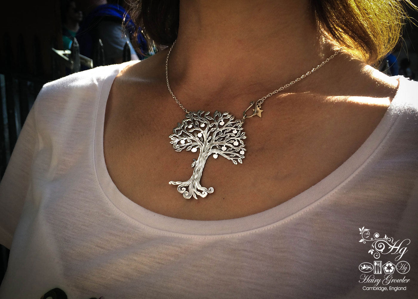 Unique tree necklace - handcrafted and Recycled silver Crown coin