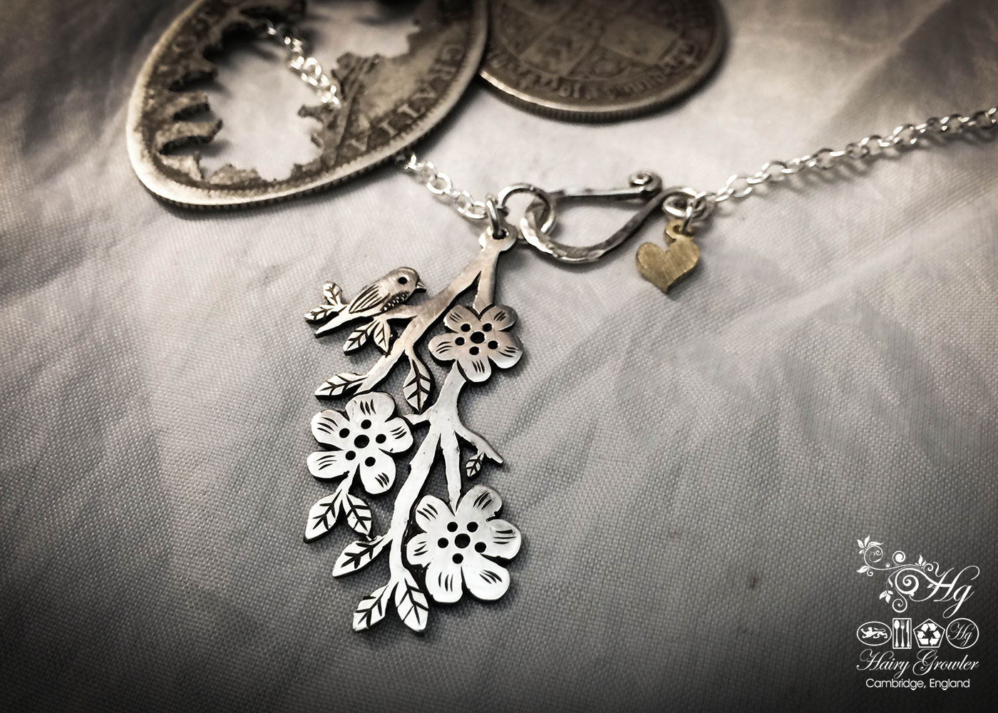 Birdsong and Blossom necklace - handmade and recycled bird necklace to wear and enjoy