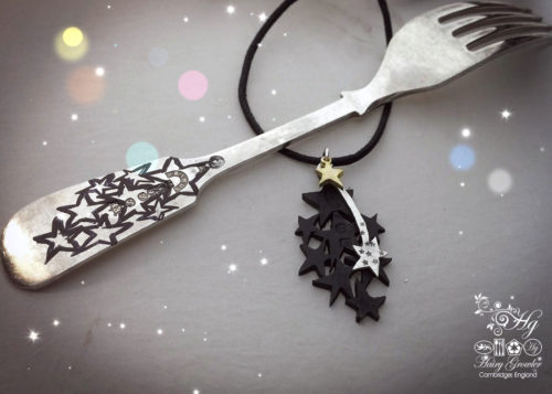 handcrafted and recycled star crossed spoon necklace pendant