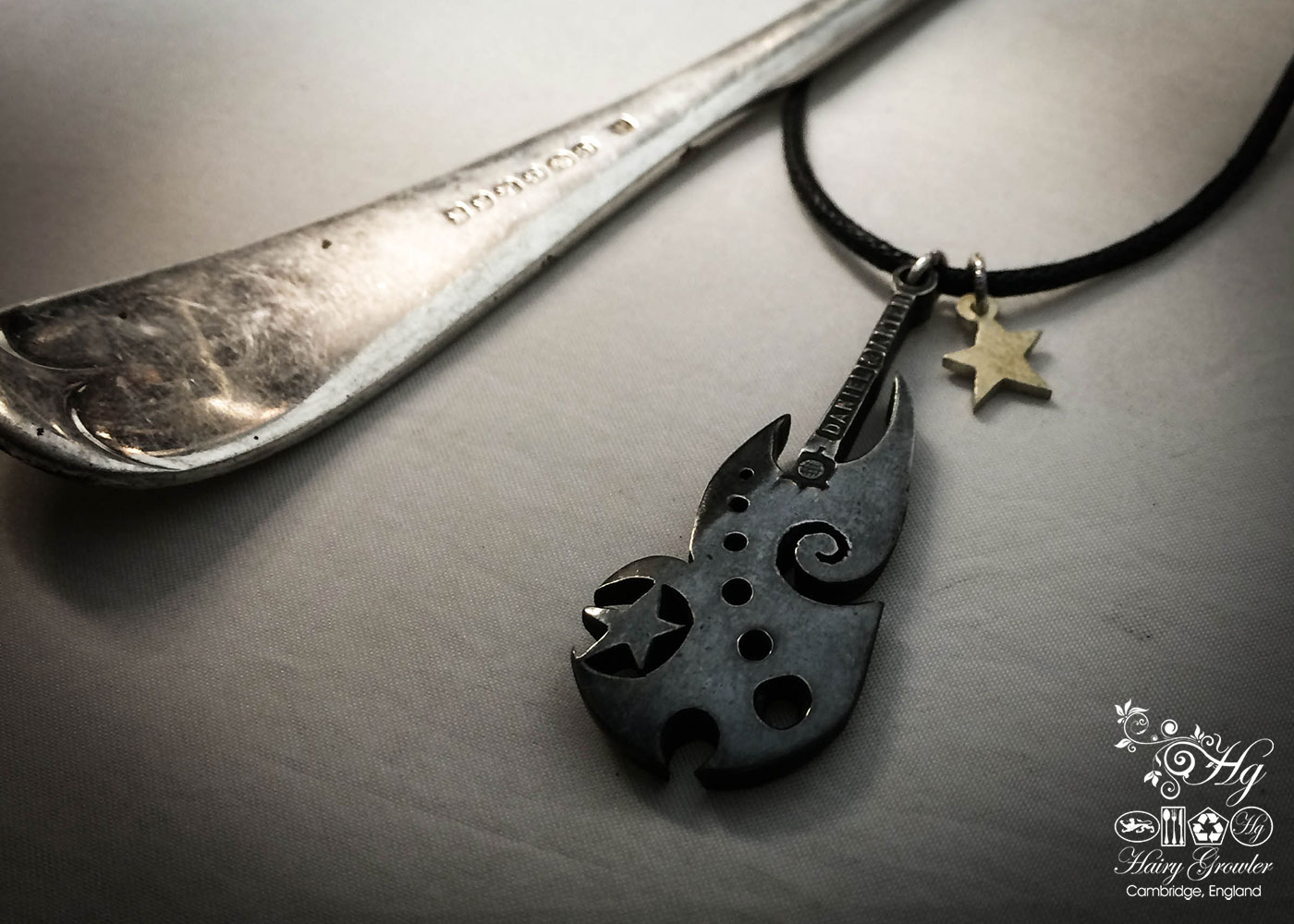handmade and repurposed spoon black star guitar necklace pendant