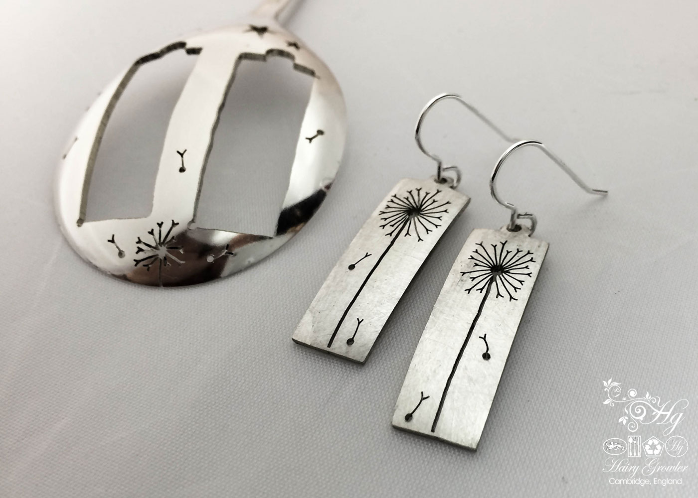 handmade and upcycled vintage flatware spoon dandelion clock earrings