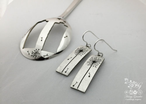 handcrafted and recycled spoon dandelion clock earrings