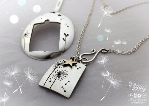 Dandelion clock jewellery Handmade and upcycled dandelion clock necklace reverse of spoon
