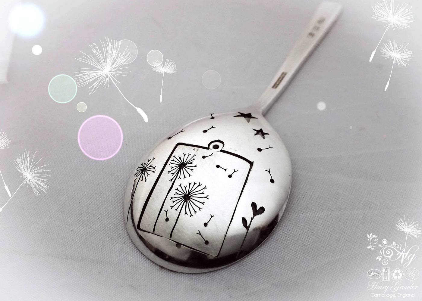 Handmade and upcycled dandelion clock necklace reverse of spoon