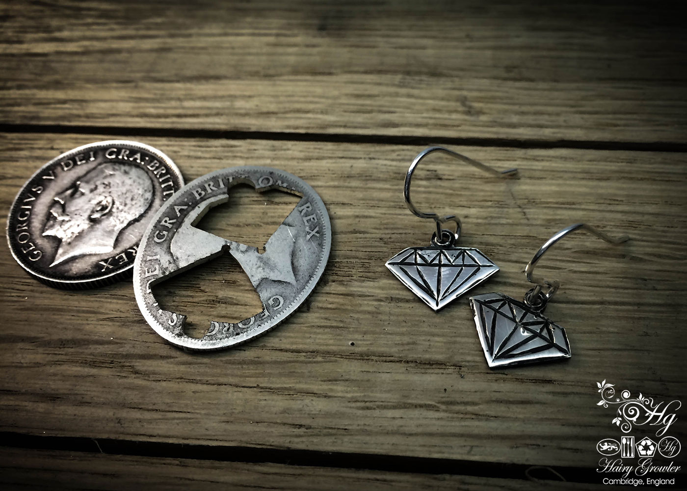 handcrafted and recycled silver shilling coin 'fake-diamond' conflict-free-diamond earrings