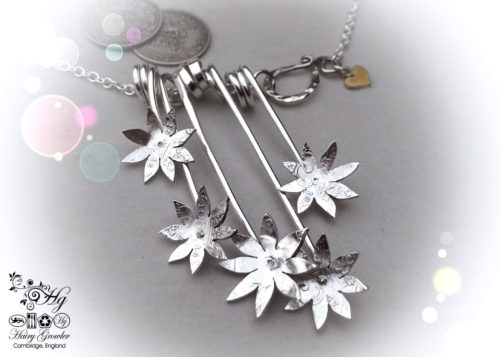 Handcrafted and recycled sterling silver beautiful flower necklace made from silver sixpence coins