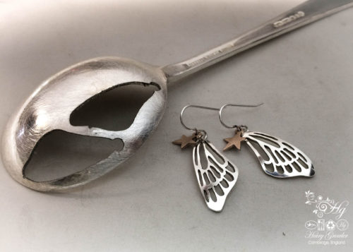 handcrafted and recycled spoon butterfly wing earrings