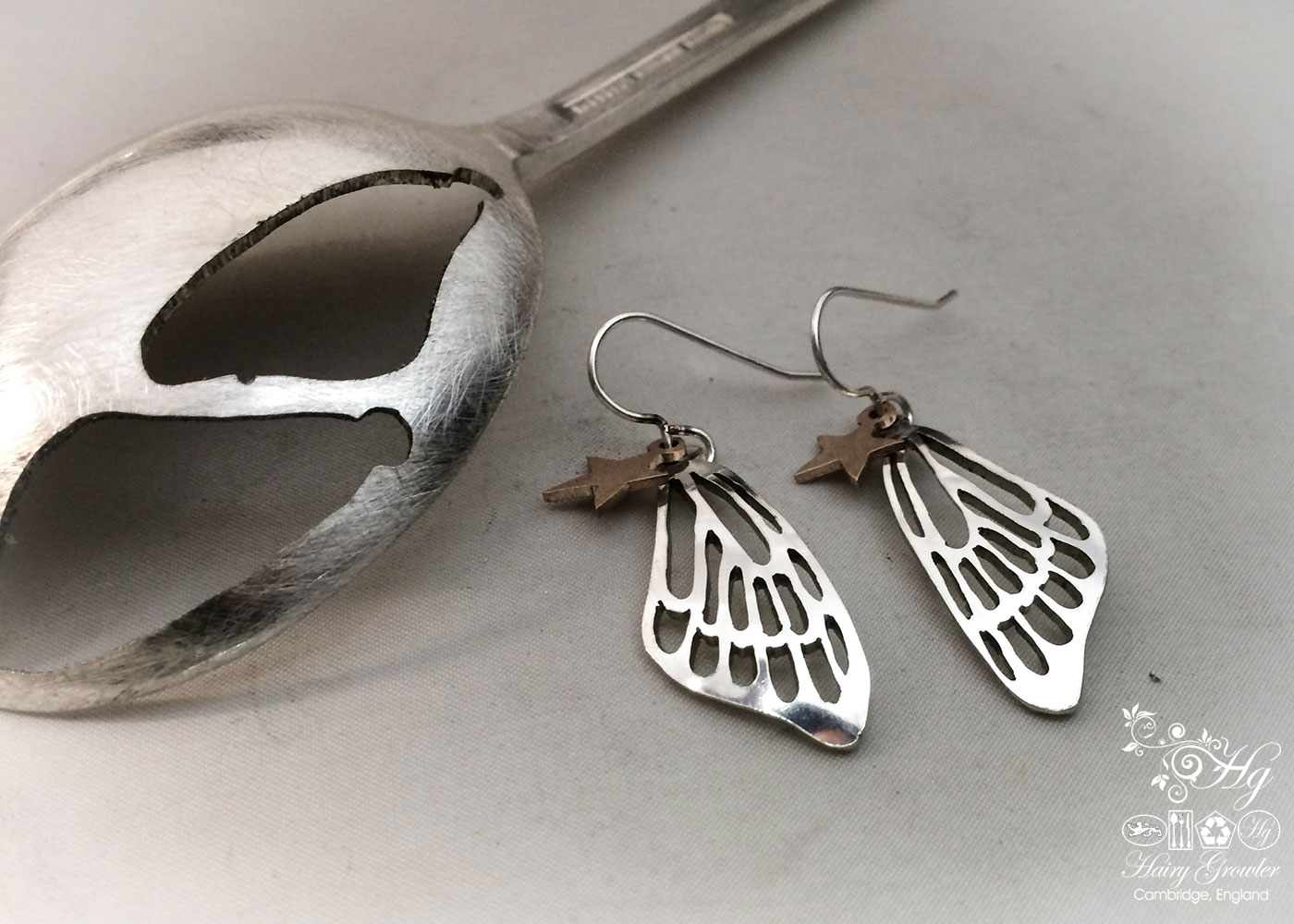 handmade and upcycled spoon butterfly wing earrings