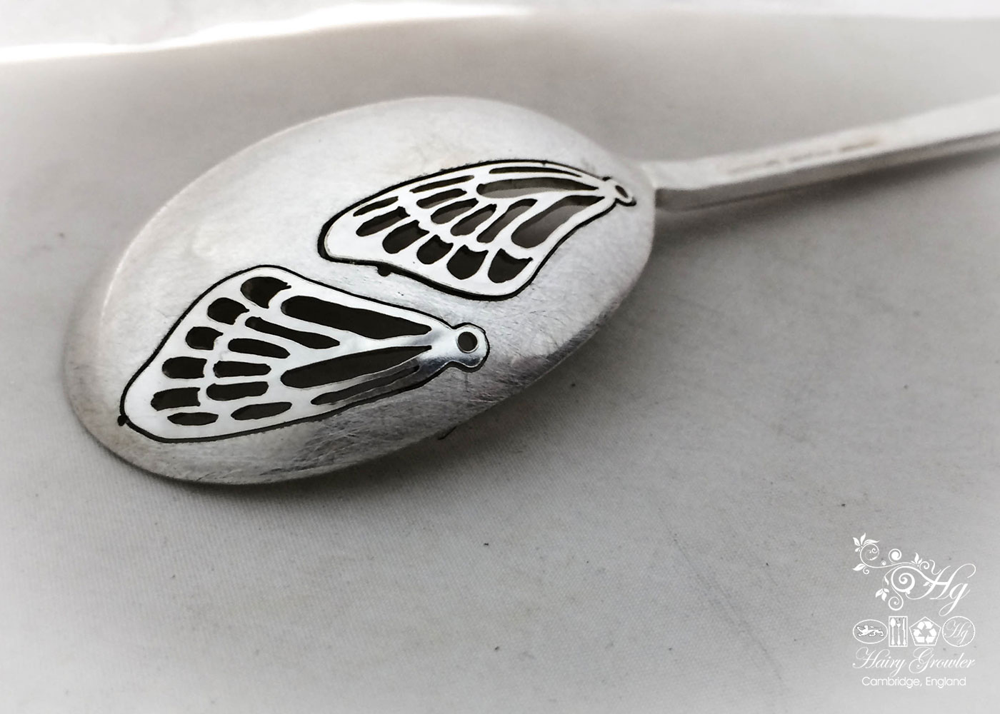 handmade and repurposed spoon butterfly wing earrings