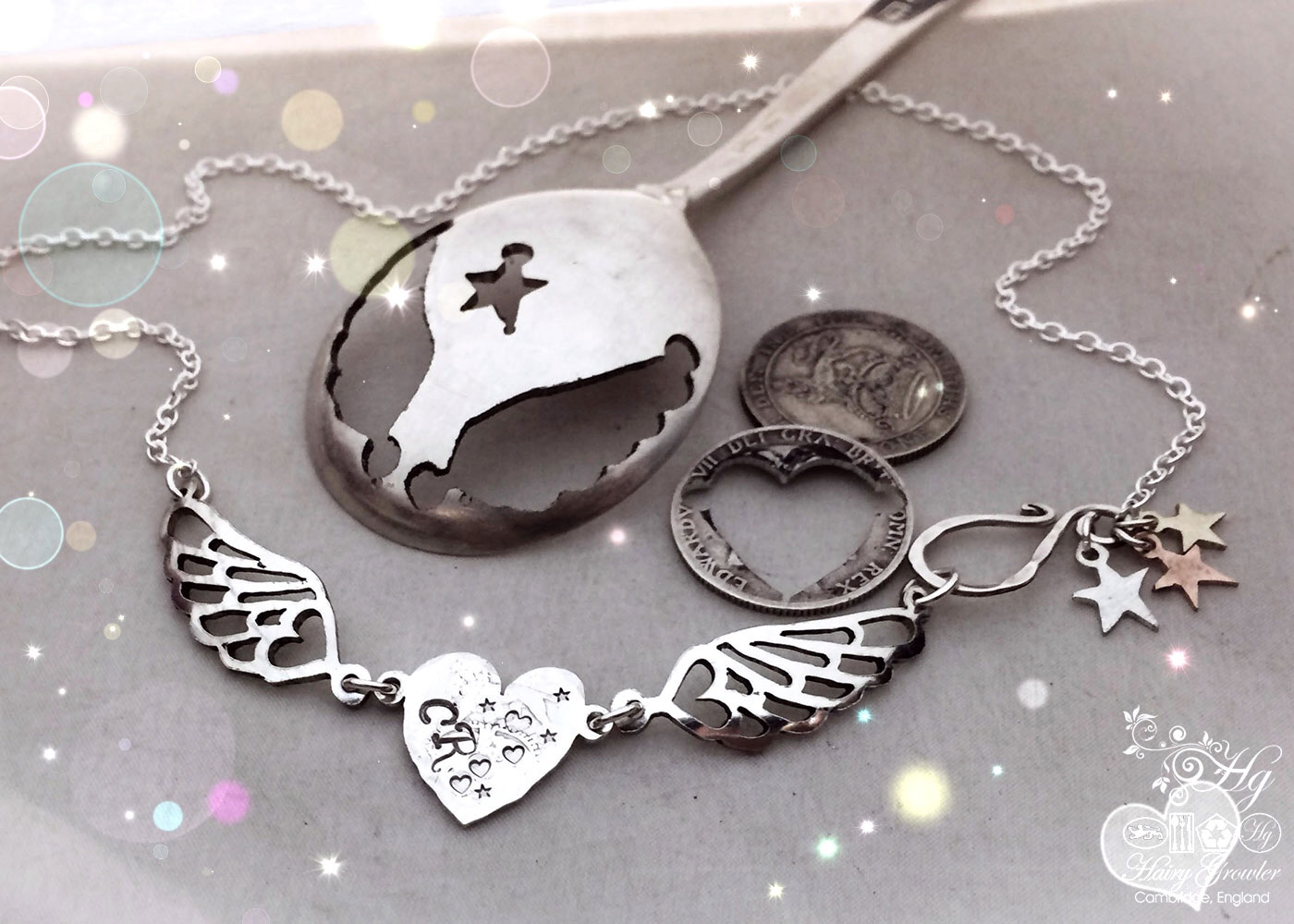 Handmade and upcycled freedom and love heart and angel wings necklace