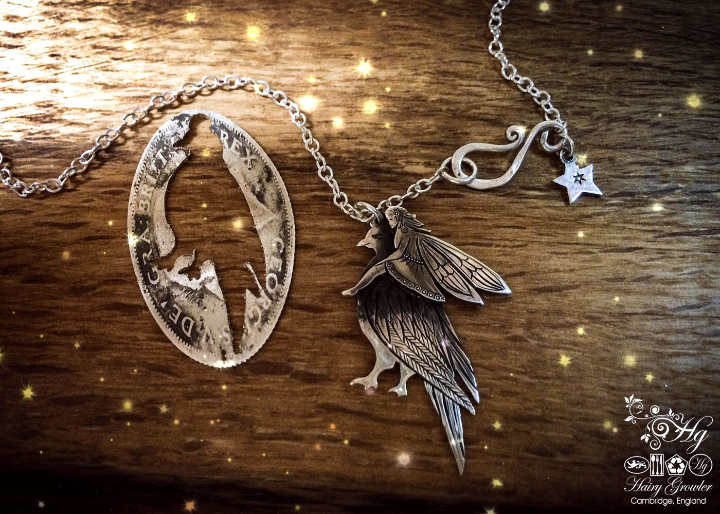 handcrafted and recycled silver fairy and dove necklace