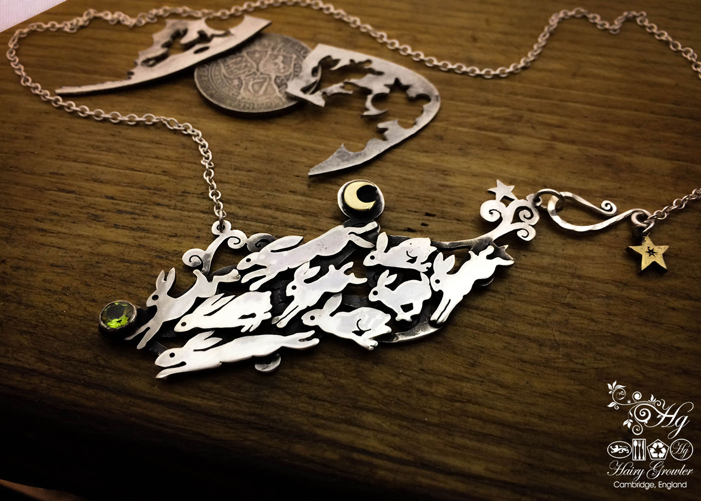 'Escape from Efrafa' leaping lapin handcrafted and unique silver necklace