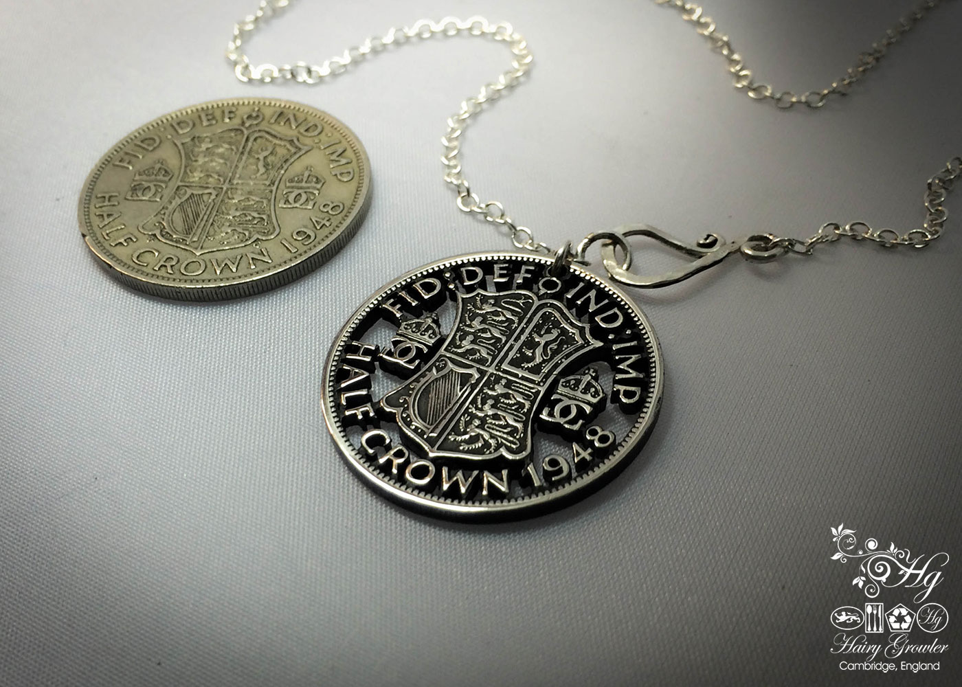Handmade and upcycled half crown coin brooch or pendant