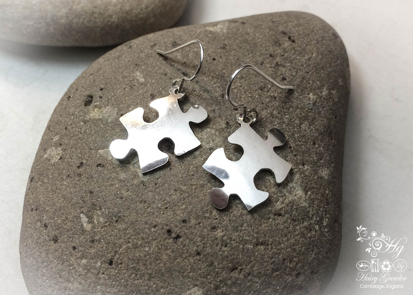 Jigsaw earrings - handmade and ethical, crafted from an recycled vintage spoon