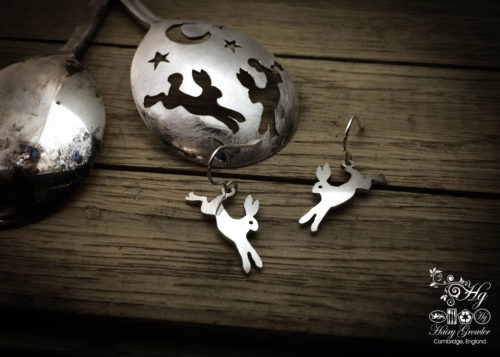 handmade and repurposed antique spoon leaping-hare earrings