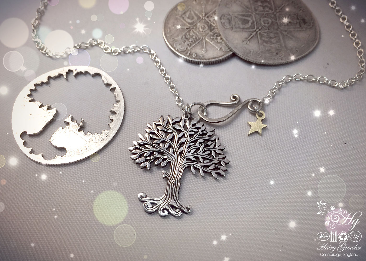 Handmade and repurposed silver Summer trees with leaves of pure silver made from a silver coin