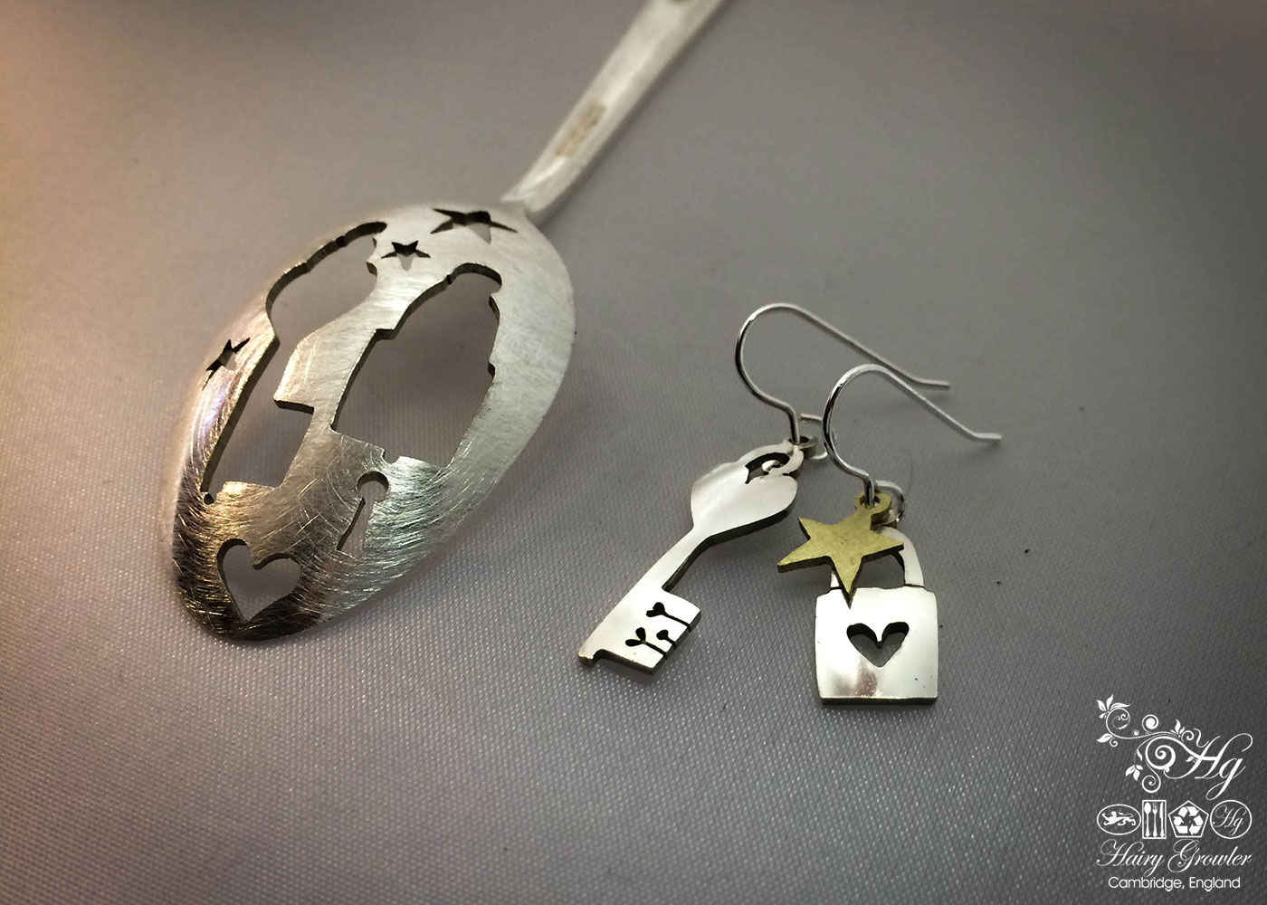 handcrafted and recycled spoon lock-and-key earrings