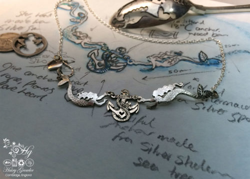 Handmade and upcycled silver coin mermaid necklace made in landlocked Cambridge, UK
