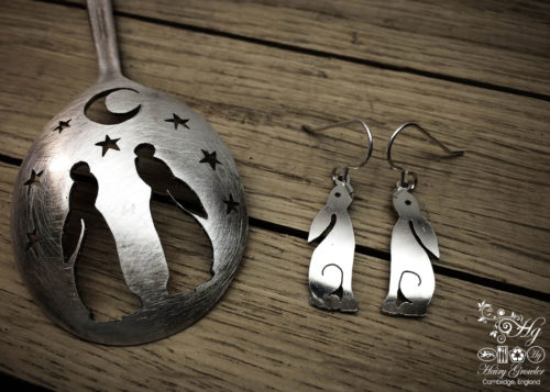 handmade and upcycled antique spoon moon gazing hare earrings